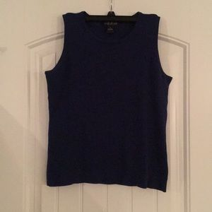 Blue sleeveless sweater top size M